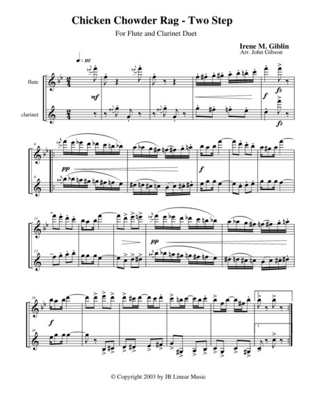 Chicken Chowder Rag by Irene Giblin for flute and clarinet duet