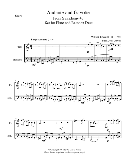 Andante and Gavotte by William Boyce for Flute and Bassoon