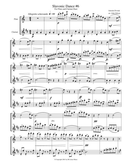 Dvorak Slavonic Dance #6 for flute and clarinet duet