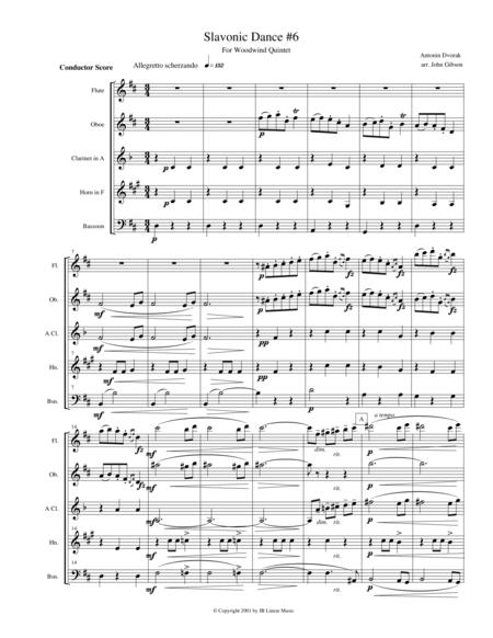 Dvorak Slavonic Dance #6 for woodwind quintet