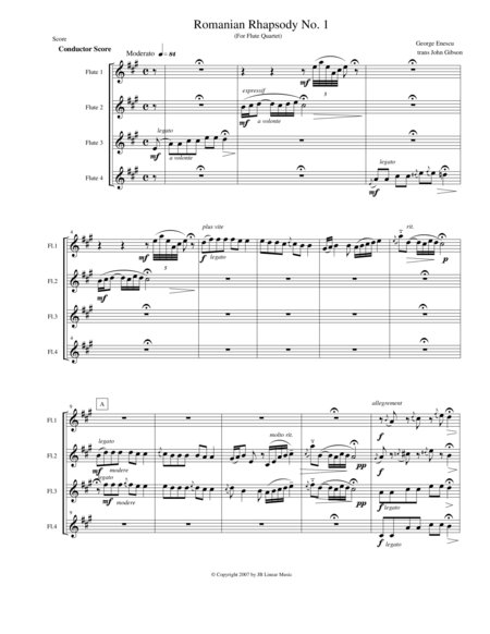 Enescu - Romanian Rhapsody #1 for Flute Quartet
