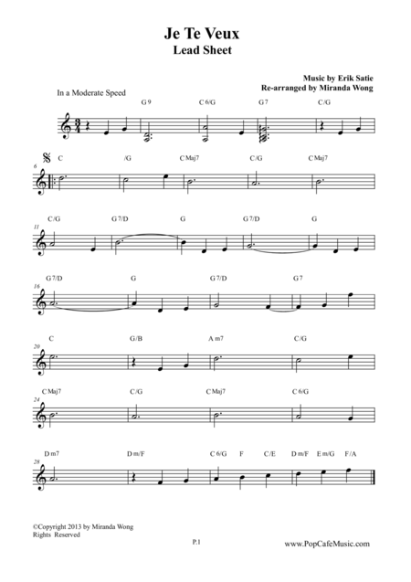 Je Te Veux - Wedding Music (Lead Sheet)