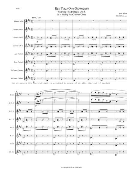 Bartok - Egy Torz (One Grotesque) for Clarinet Choir