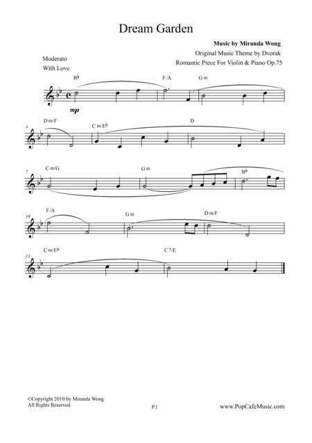 Romantic Piece for Violin & Piano Op.75 (Dream Garden) - Lead Sheet