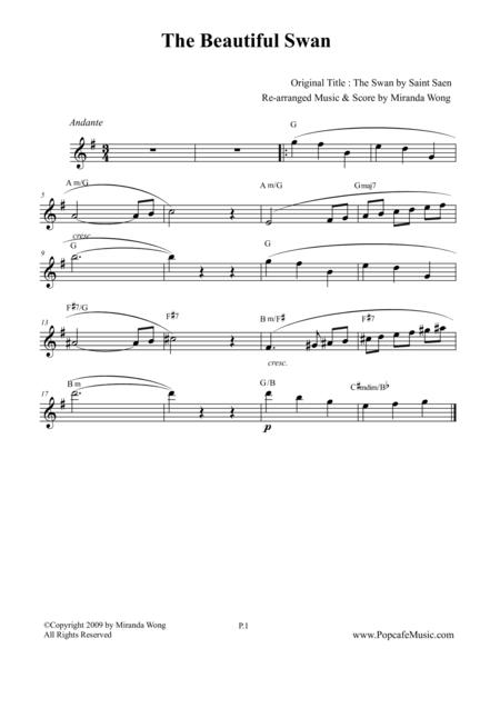 The Beautiful Swan (Le Cygne) - Lead Sheet