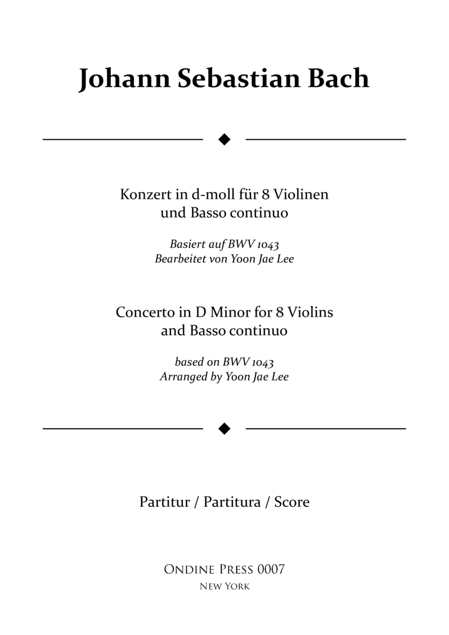 Bach (arr. Lee): Concerto for 8 Violins & Basso Continuo in D Minor, BWV 1043, Full Score