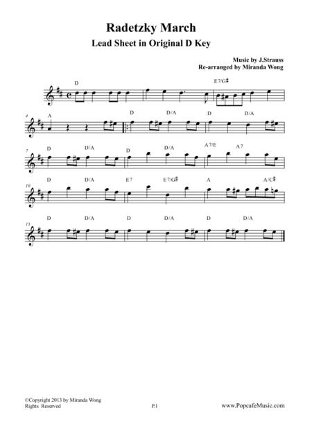 Radetzky March in Original D Key - Lead Sheet