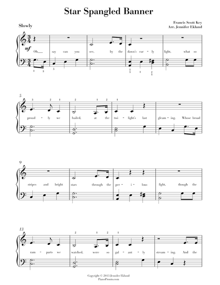 Star Spangled Banner (Arr. for easy piano)