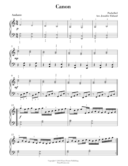 Pachelbel's Canon (Arr. for Easy Piano)