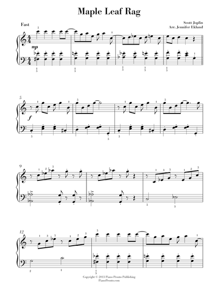 Maple Leaf Rag ~ Easy Piano Version