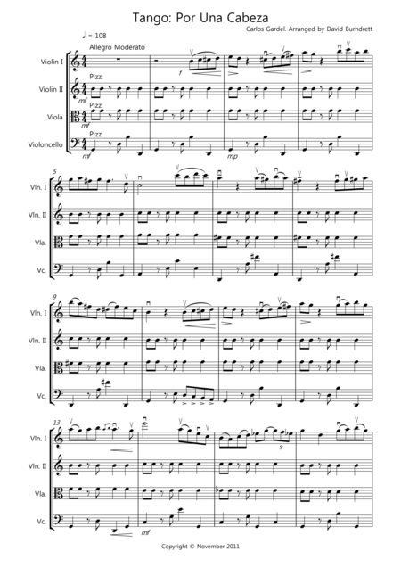 Tango Por Una Cabeza for String Quartet