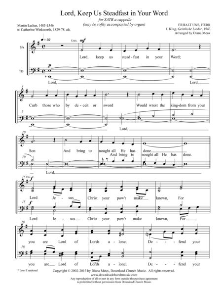 Lord, Keep Us Steadfast in Your Word (SATB a cappella)