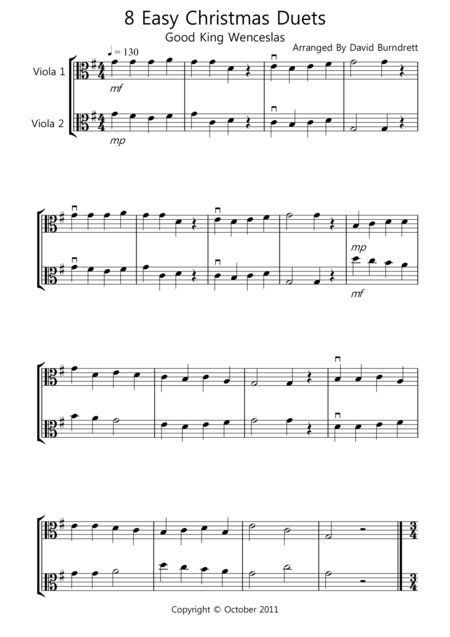 8 Christmas Duets for Viola