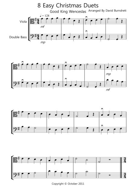8 Christmas Duets for Viola And Double Bass