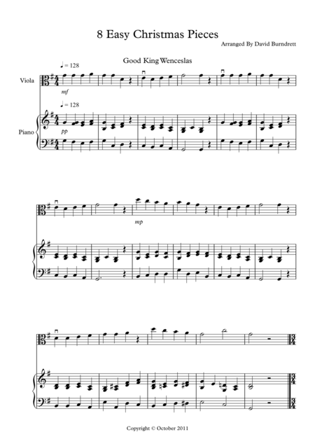 8 Easy Christmas Pieces for Viola And Piano
