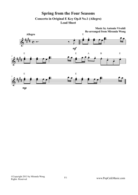 Spring from Four Seasons by Vivaldi - Original E Key (Lead Sheet)