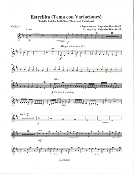 Twinkle Twinkle Little Star (Theme and Variations) For String Orchestra - Set of Individual Parts
