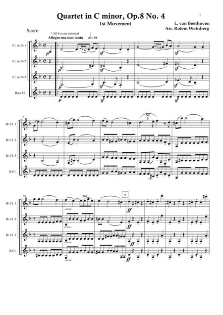 Quartet in C minor, Op.8 No.4, mvmt.1 (Clarinet Quartet)