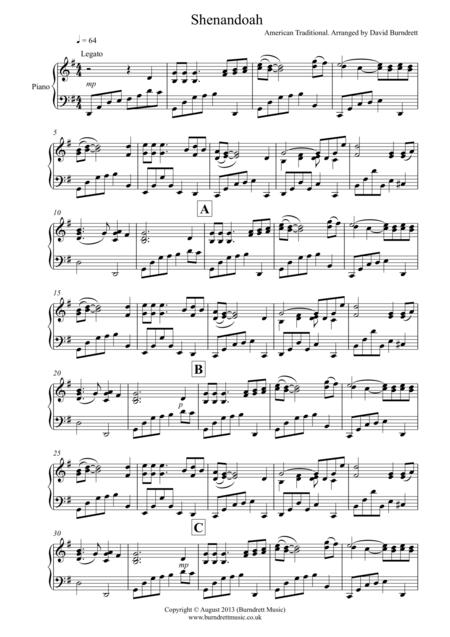 Shenandoah for Piano Solo