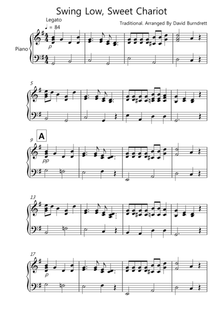 Swing Low, Sweet Chariot for Piano Solo