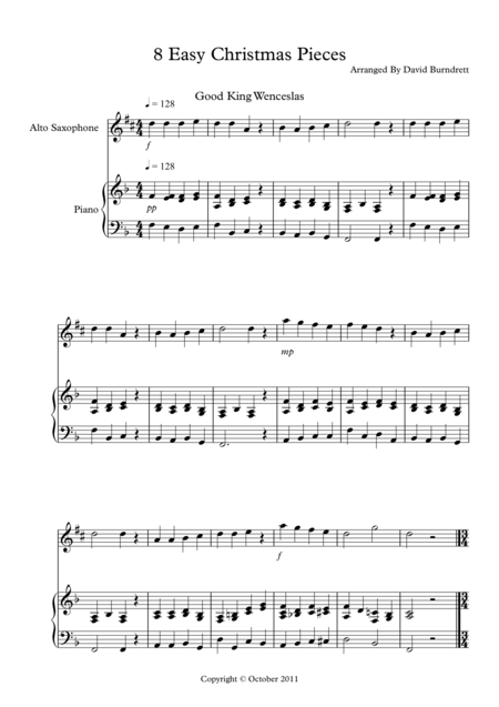 8 Easy Christmas Pieces for Alto Saxophone And Piano