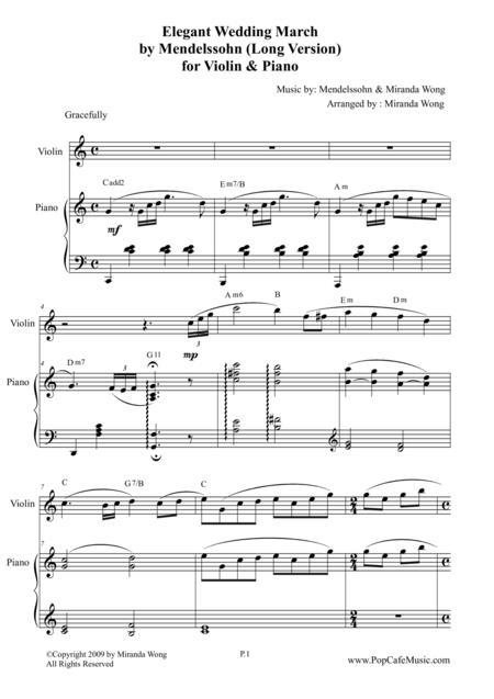 Elegant Wedding March (Long Version) for Violin & Piano