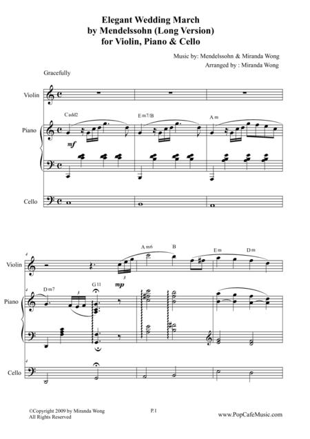 Elegant Wedding March (Long Version) for Violin, Piano & Cello