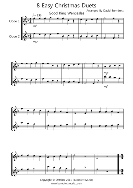 8 Christmas Duets for Oboe