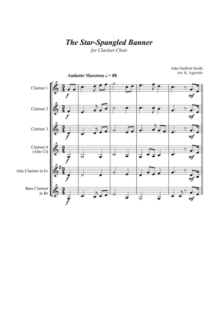 The Star-Spangled Banner - for Clarinet Choir