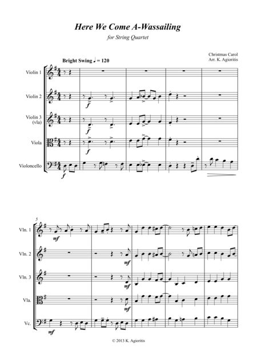 Here We Come A-Wassailing - Jazz Carol for String Quartet
