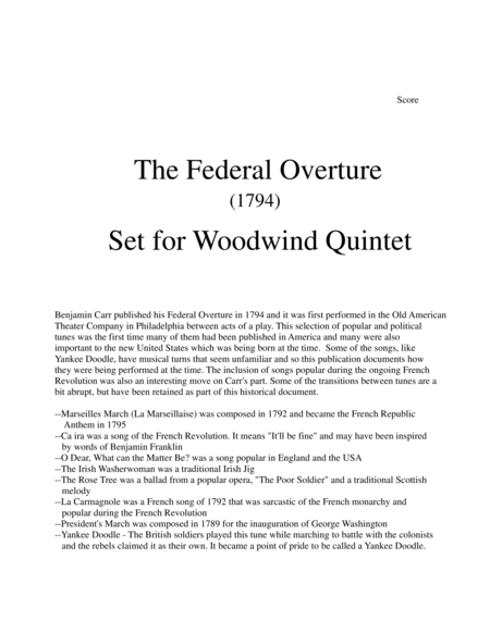 1794! Federal Overture for Woodwind Quintet