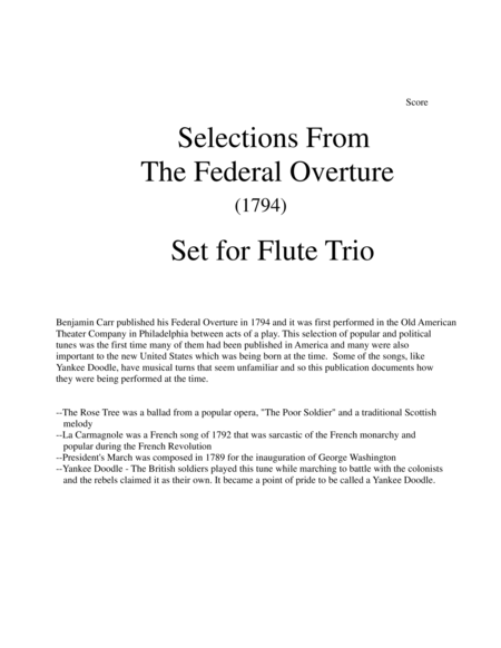 1794! Federal Overture for Flute Trio