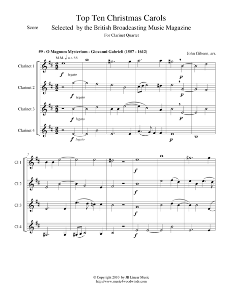 O Magnum Mysterium by Gabrieli for Clarinet Quartet