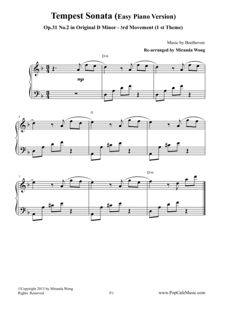 Piano Sonata Op.31 No.2 (1st Theme of 3 rd Movement) - (Tempest)