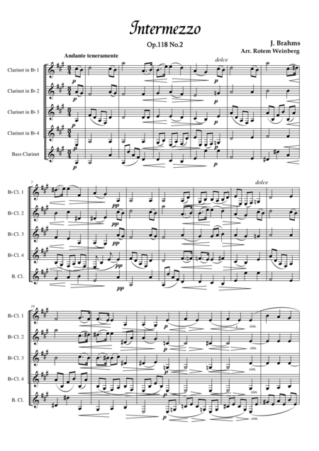 Intermezzo in A Op.118 No.2 (Clarinet Quintet)