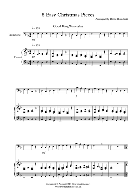8 Christmas Pieces for Trombone And Piano