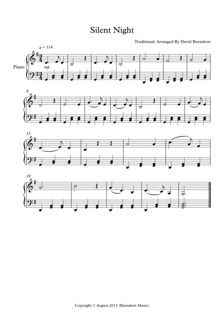 Silent Night for Easy Piano Solo