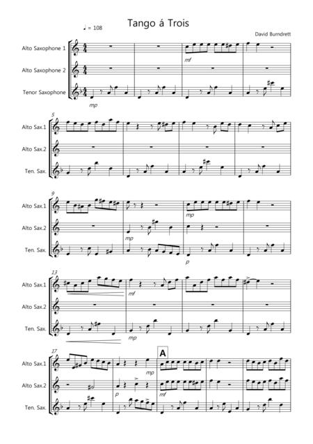 Tango á Trois for Saxophone Trio