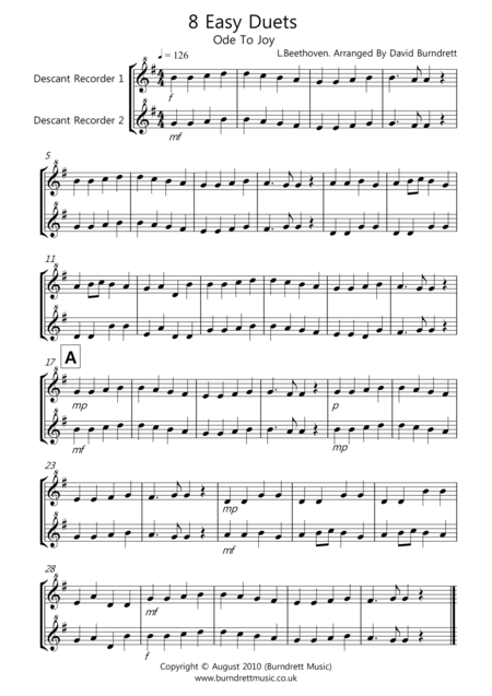 8 Duet for Descant Recorder