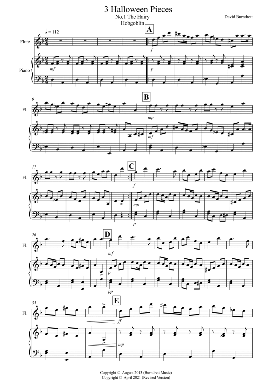 3 Halloween Pieces for Flute And Piano