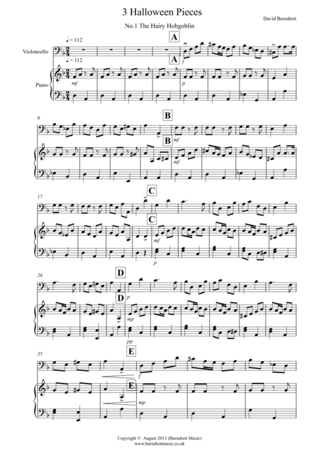 3 Halloween Pieces for Cello And Piano