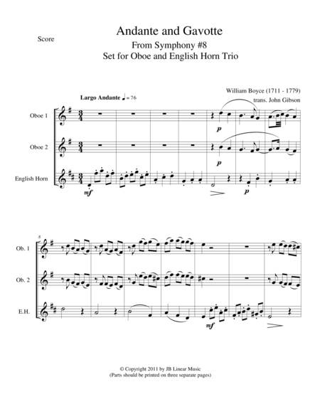 Andante and Gavotte by William Boyce for Oboe Trio