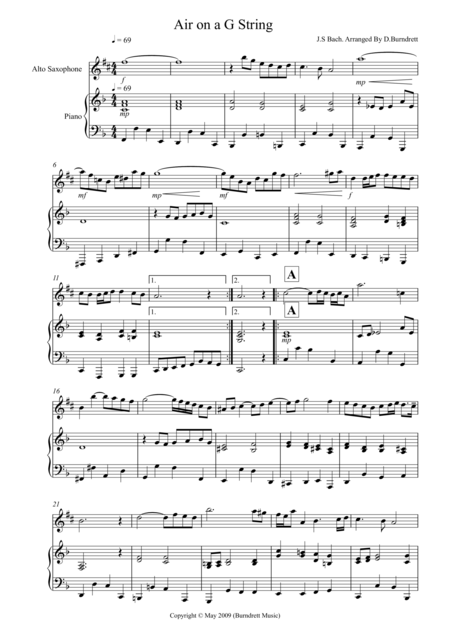 Air On A G String for Alto Saxophone And Piano
