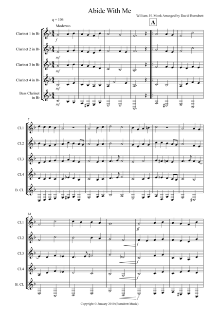 Abide With Me for Clarinet Quintet