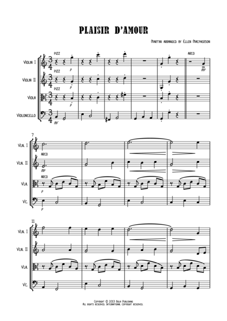 Plaisir d'Amour (The Pleasure of Love)- Score - Easy String Quartet Wedding Music