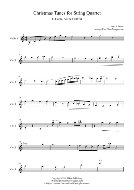 Christmas Tunes for String Quartet - O Come, All Ye Faithful - Violin 1