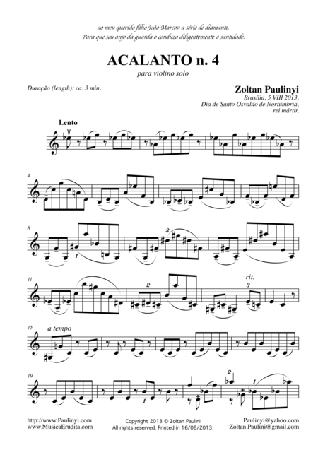 Acalanto n.4 for solo violin (or cello or viola)