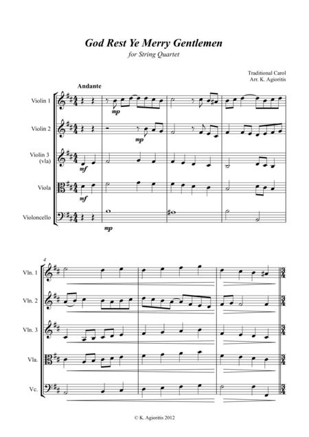 God Rest Ye Merry Gentlemen - Jazz Carol for String Quartet