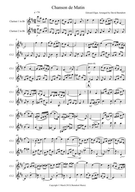 Chanson De Matin for Clarinet Duet