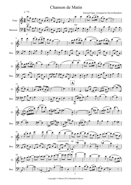 Chanson De Matin for Flute And Bassoon